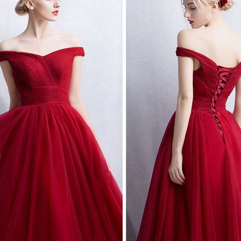 Red Evening Dress Prom Dress Bridal Gown