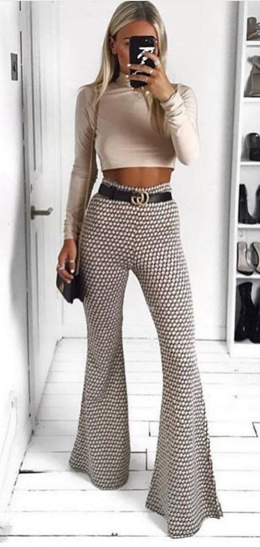 brown crop top and black and white flare pants #spring #outfits