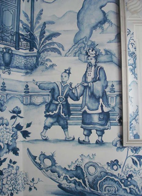 Blue and White Monday Beautiful Chinoiserie Mural Blue