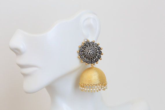 Two tone jhumka with pearl drops