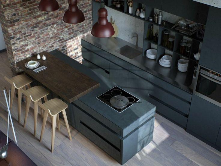 Awesome Graues K chen Design mit Barst hlen aus Birkenholz