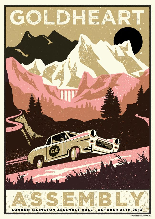 mountains // Goldheart Assembly poster by Telegramme Paper Co. Three-colour hand-pulled silkscreen on vellum paper.
