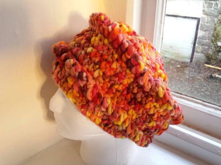 Funky hat crochet hat hand dyed yarn super chunky / bulky bright by Dreadlocksslouchhats on Etsy