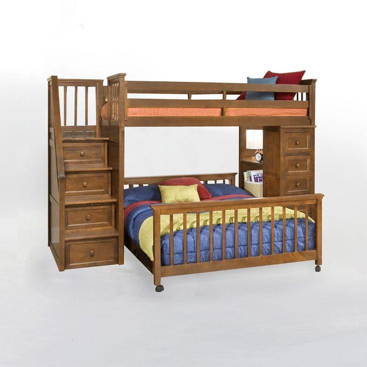 Schoolhouse Stair Loft Bed Pecan