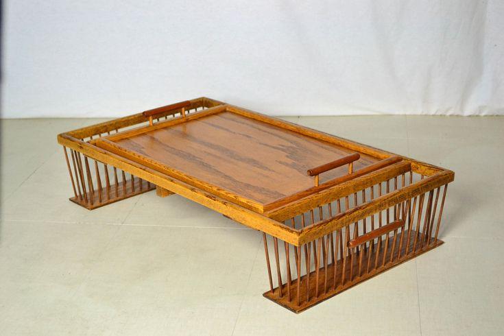 Vintage Mid Century Modern Custom Walnut Serving Tray With Storage by OffCenterModern on Etsy