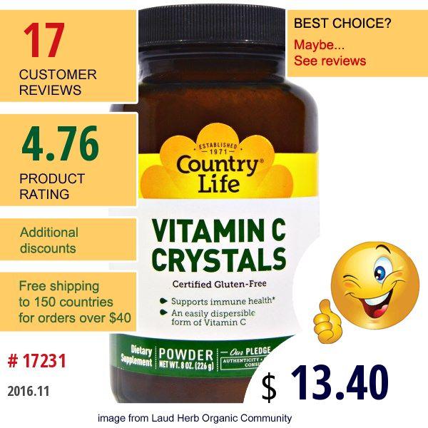Country Life #CountryLife #Vitamins #VitaminC #VitaminCPowderCrystals #ビタミン #ビタミンC #ビタミンCパウダークリスタル #Витамины #ВитаминС #ВмтаминСВПорошкеИКристаллах #비타민 #비타민C #비타민C분말결정