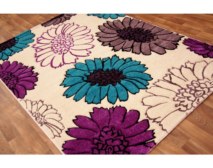 Cream Purple & Teal Modern Rugs Catalina 19