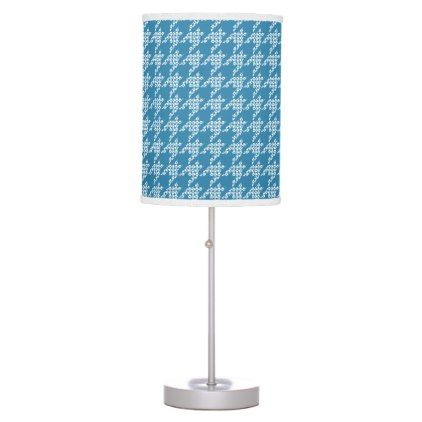 Paws-for-Houndstooth Table Lamp (Teal) - office decor custom cyo diy creative