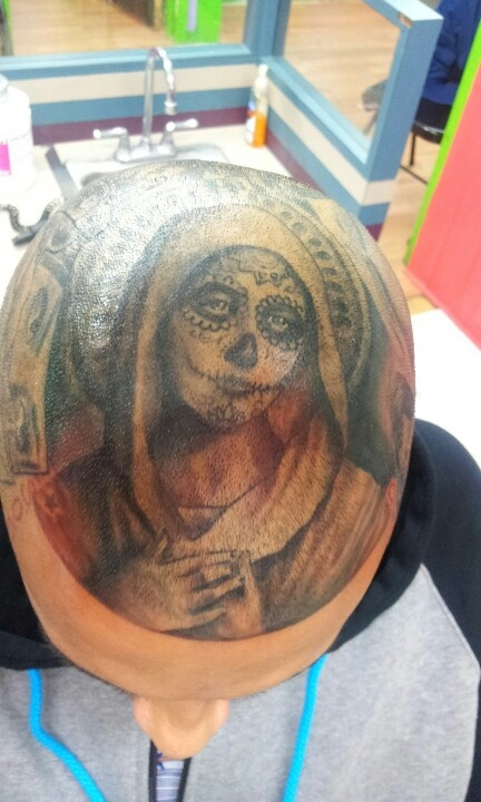 Religious virgin mary day of dead tattoo