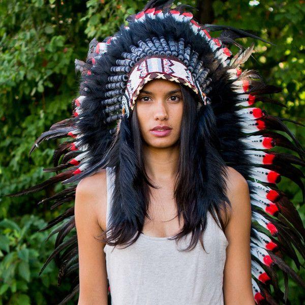 Red Tips Indian Headdress 95cm Headdress Native American