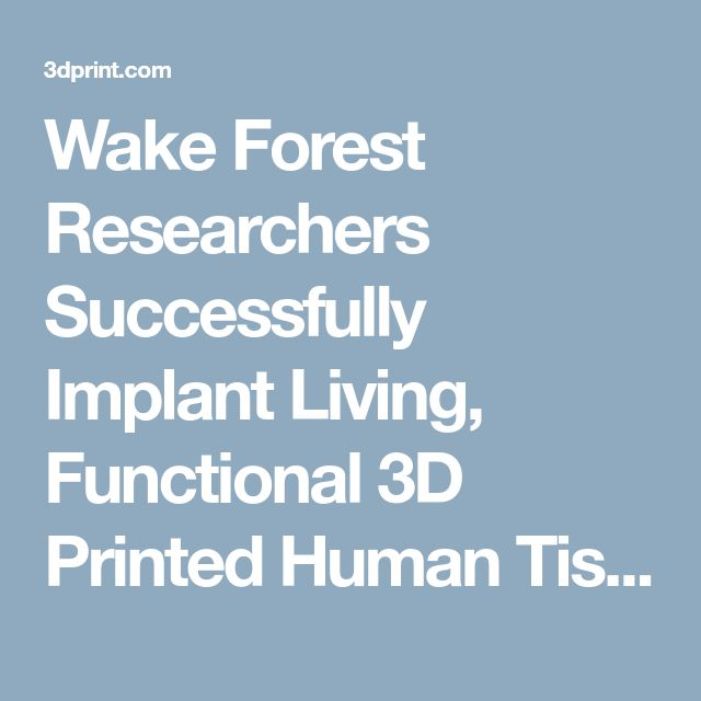 Wake Forest Researchers Successfully Implant Living, Functional 3D Printed Human Tissue Into Animals   3DPrint.com   The Voice of 3D Printing / Additive Manufacturing