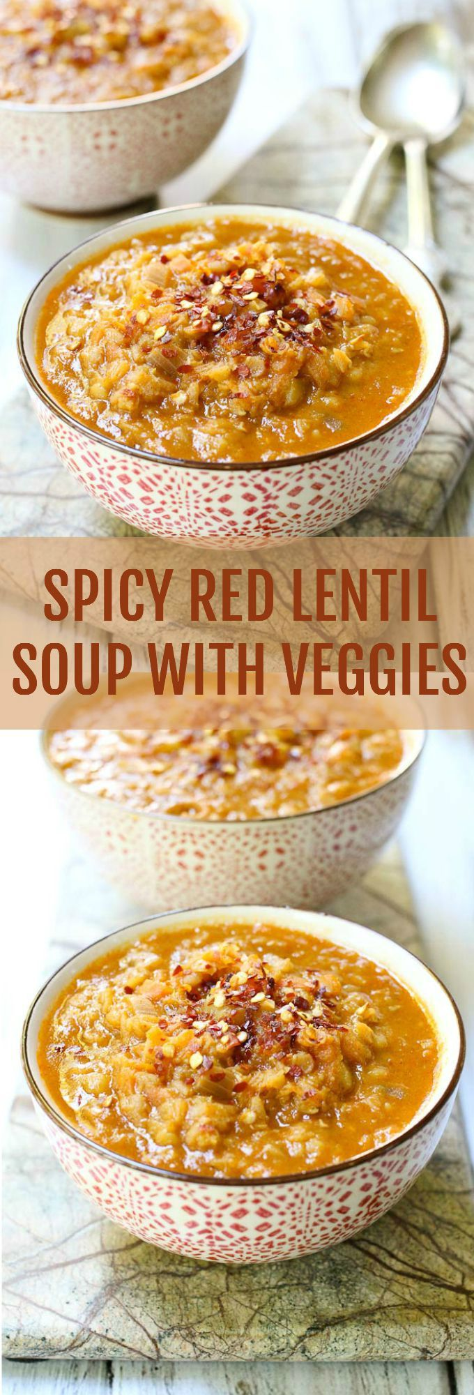 This Spicy Red Lentil Soup is filling, comforting, healthy, low GI, dairy-free, vegan, gluten-free and simply perfect. It's also spicy enough to warm you up on a cold rainy day.