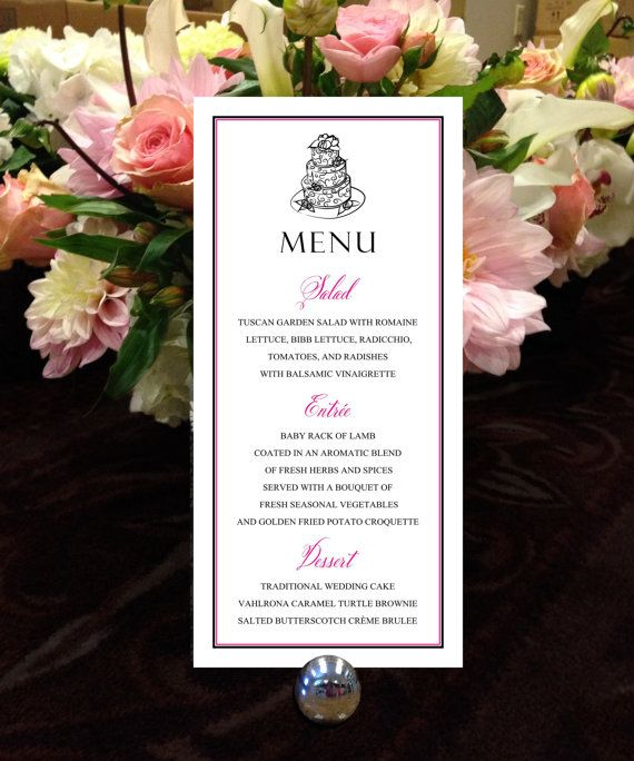 """Whimsical Cake Menu, Black and Pink Menu, Formal Menu, for your Wedding, Party or Special Event - finished size 4.25"""" x 9"""""""