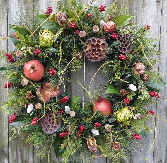 Christmas Bounty Wreath with for All Winter, Christmas and Holiday Magnolia Wreath, Artichoke, Christmas Frut and Dried Pods, Christmas Gift