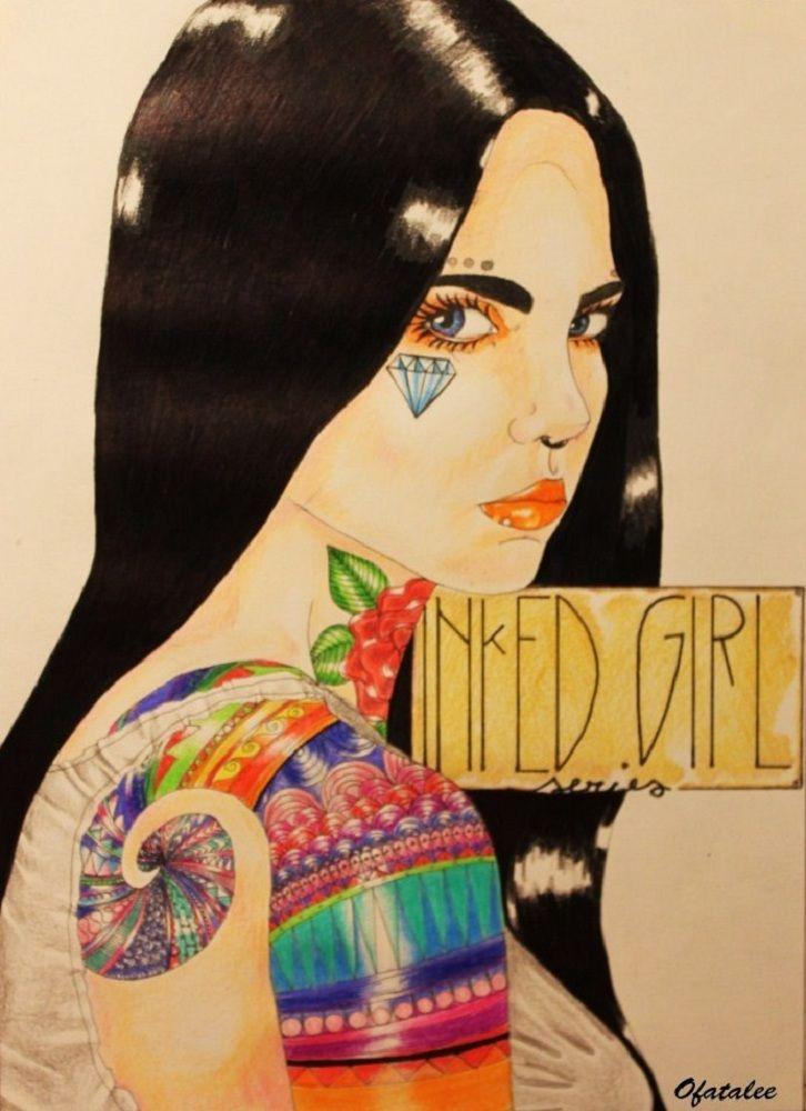 inked girl  tattoo diamond illustration poster