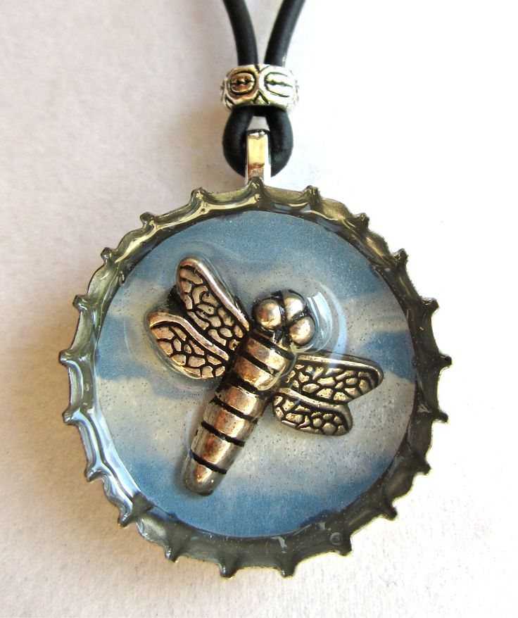 Blue Dragonfly Resin Bottle Cap Jewelry