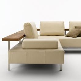 Rolf Benz Dono sofa, cream leather and walnut