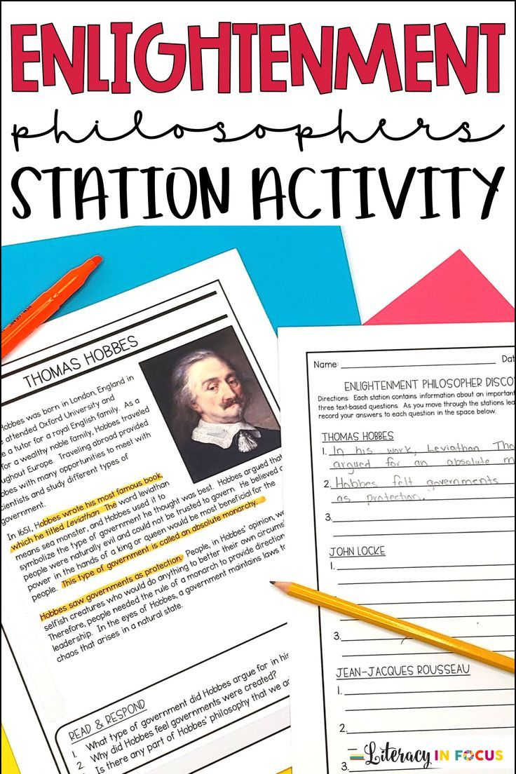 Enlightenment Philosophers Age Of Enlightenment Stations And Writing Activity Text Based Questions Writing Activities Enlightenment