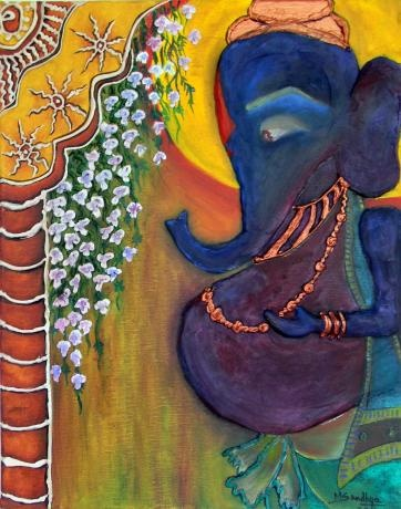 """""""Content"""" has Violet Ganesha standing at the patio looking very content."""