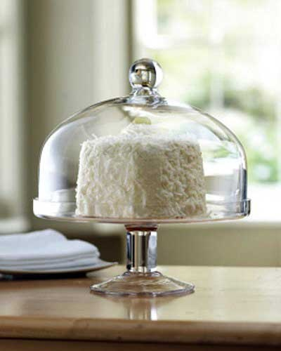Cake stand with dome.