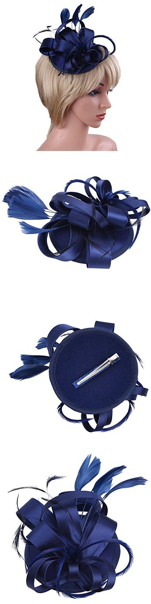 IEFiEL Lady Flowers Pillbox Fascinators Hat Cocktail Party Vintage Bridal Hair Clip Headwear Navy Blue One Size