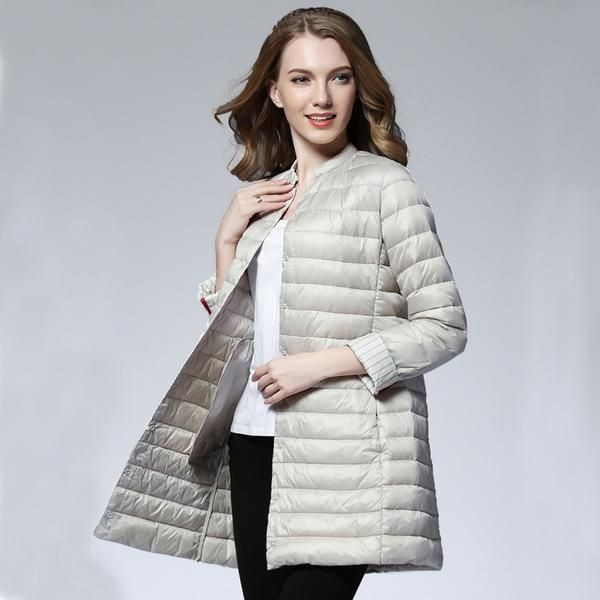 61679a7f3b42a Woman Spring Padded Warm Coat Ultra Light Duck Down Jacket Long Female  Overcoat Slim Solid Jackets