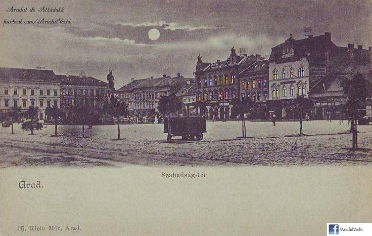 Aradul noaptea - litografie din anul 1900