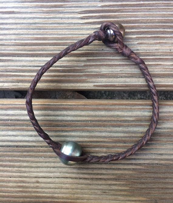 Tahitian Pearl Bracelet Tahitian Pearl And Leather Bracelet For Man Hecho A Mano Compras Proyectos