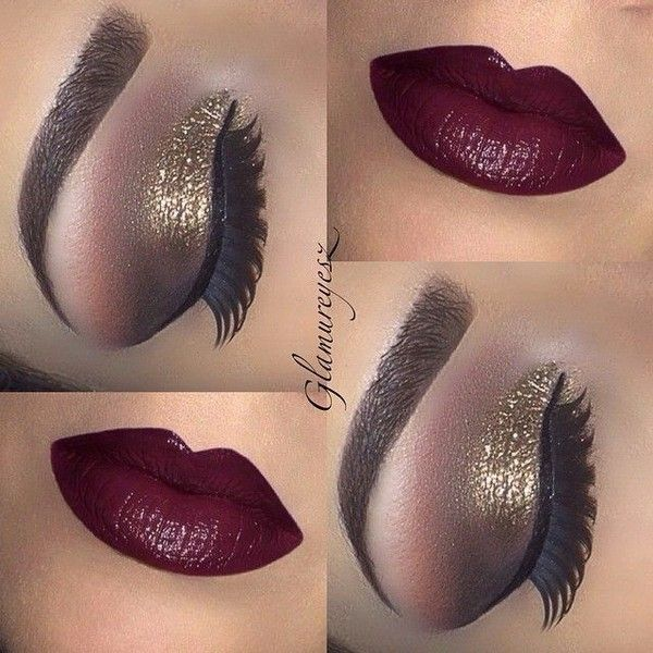 Top 10 Best Smoky Makeup Looks for Fall ❤ liked on Polyvore featuring beauty products, makeup, eye makeup, eyes, beauty, lips, gold cosmetics, gold eye makeup, gold makeup and lips makeup