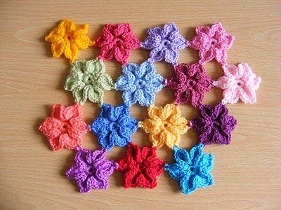 By Pink Fluffy Warrior: Crochet Flowers, Flowers Crochet, Free Pattern, Flowers Patterns, Free Crochet, Stars Flowers, Crochet Patterns, Crochet Stars, Flowers Tutorials