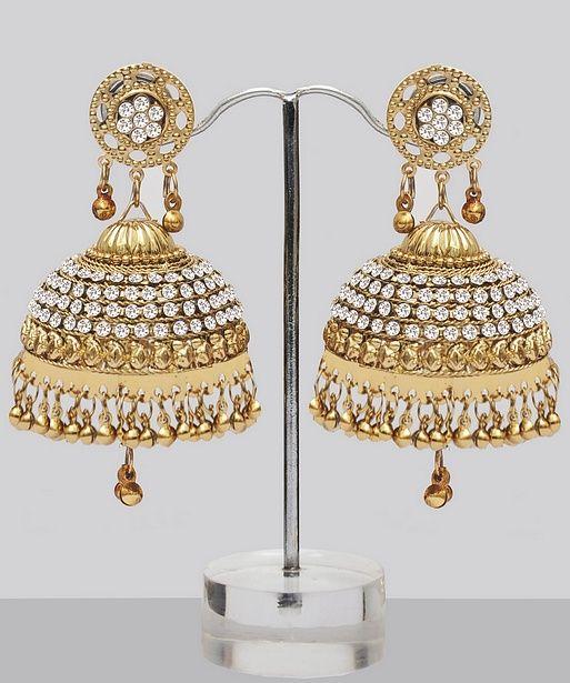 Shining Large Golden Jhumka Earrings With Stones