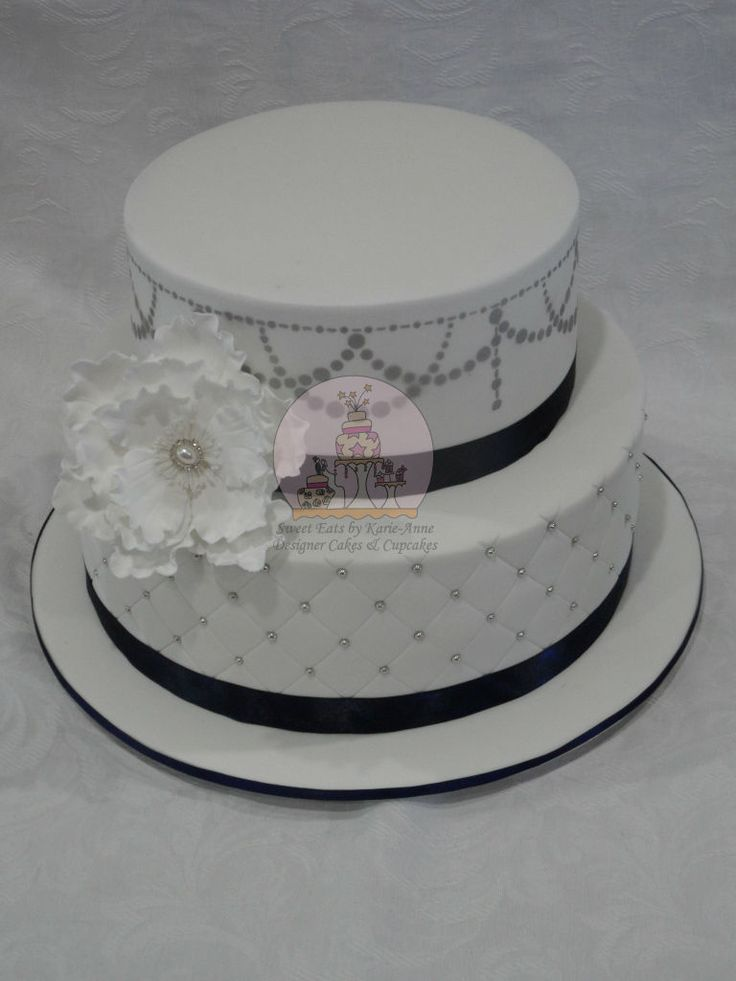 Navy & Silver themed Wedding Cake with large Jewelled Peonie Flower