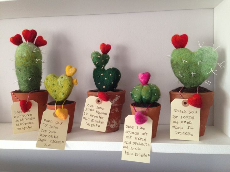 This cute needle felted cactus has touch friendly prickles and comes with a little love message all potted up in a vintage terracotta pot. A bright red shaded heart sits atop the heart shaped textural blended cactus in soft greens. The prickles are touch friendly so you dont need to worry about sore fingers. The pot is filled with spill friendly merino wool that wont make a mess of your carpet if it gets knocked over. These fantastic little love gifts for valentines and anniversaries or just…