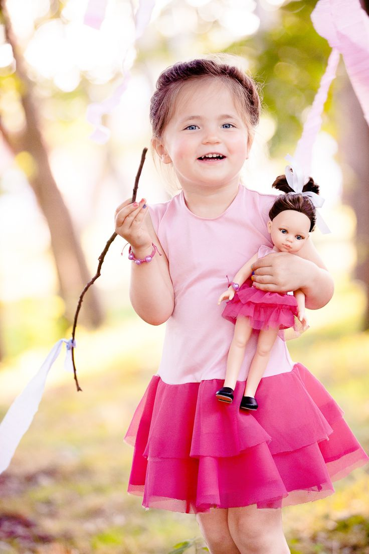 Pink ballet dress. Matched clothes for girl and her doll. Amazing gift for birthday and Children's Day.