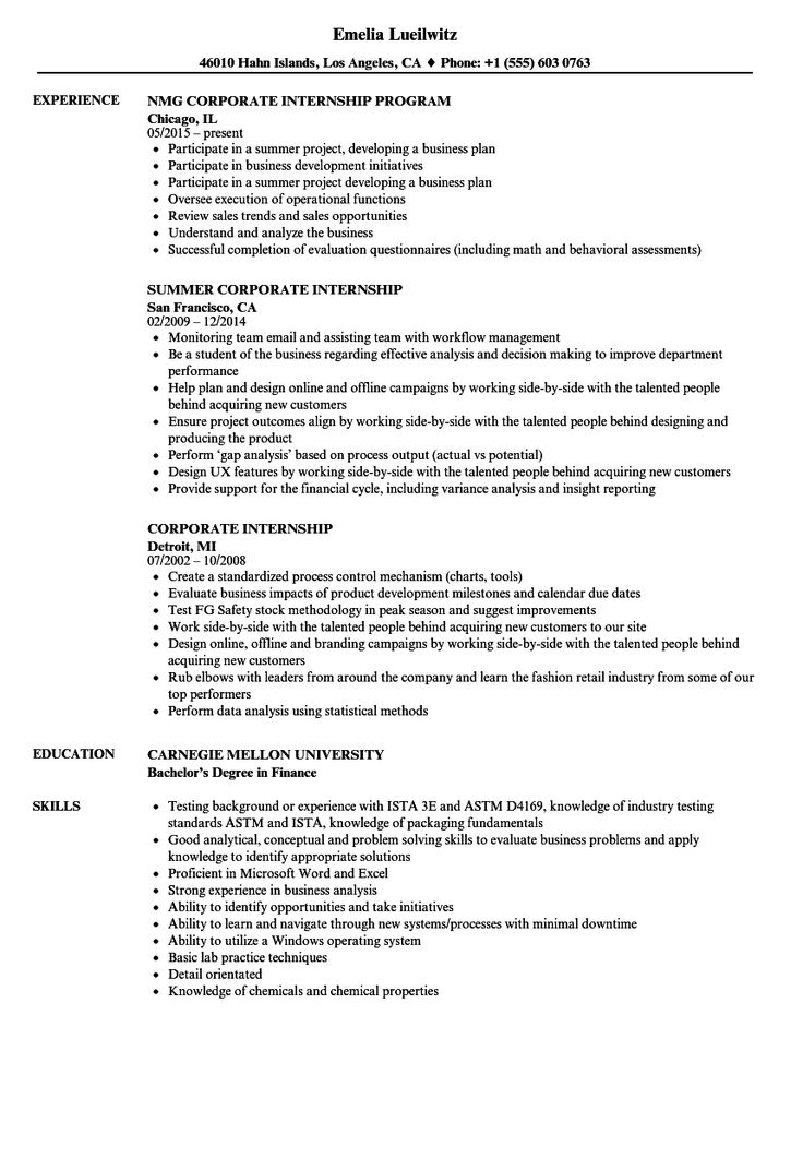 Internship Resume Template in 2020 Internship resume