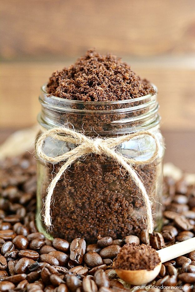Homemade coffee scrub to nourish skin and reduce stretch marks and cellulite