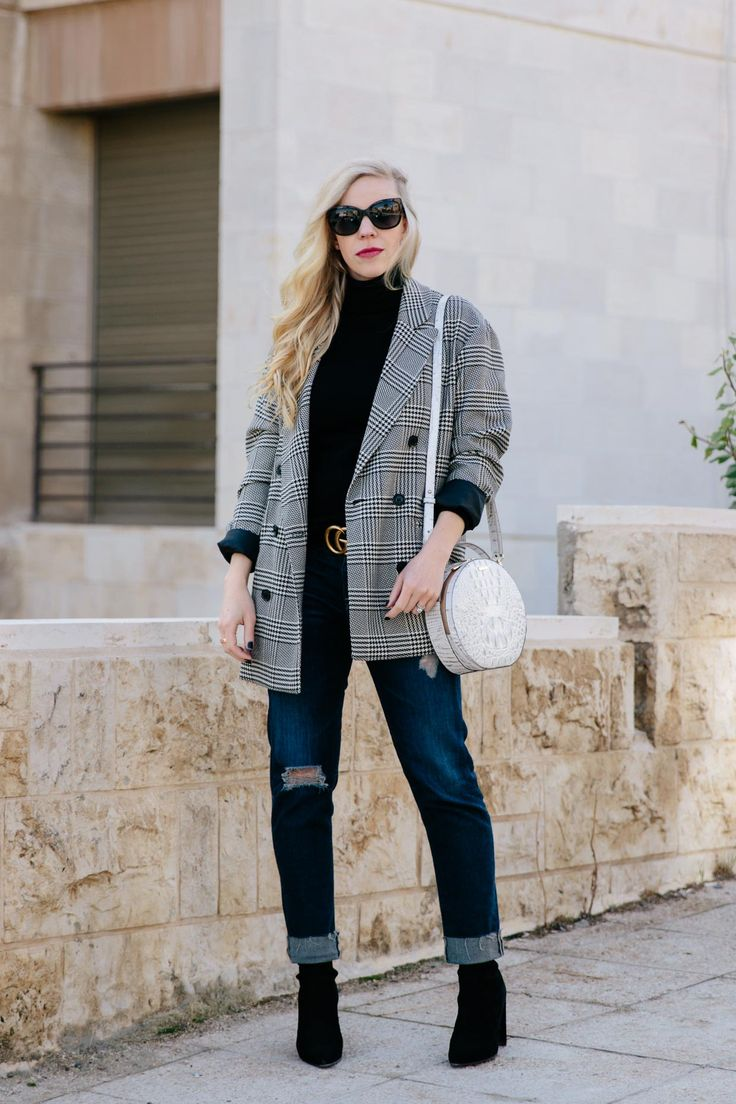 Plaid blazer with black turtleneck, Gucci belt, distressed boyfriend jeans and sock boots, plaid blazer winter outfit