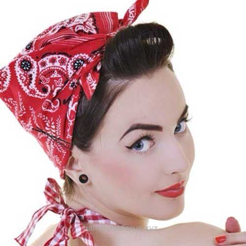Perfect 50s Hair with Bandana For Short Haircut The post 50s Hair with Bandana For Short Haircut… appeared first on Hairstyles .