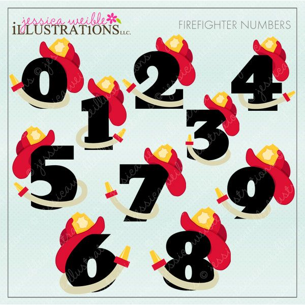 Firefighter Numbers clipart set comes with 10 cute numbers, zero through nine, with firefighter hats and hoses.