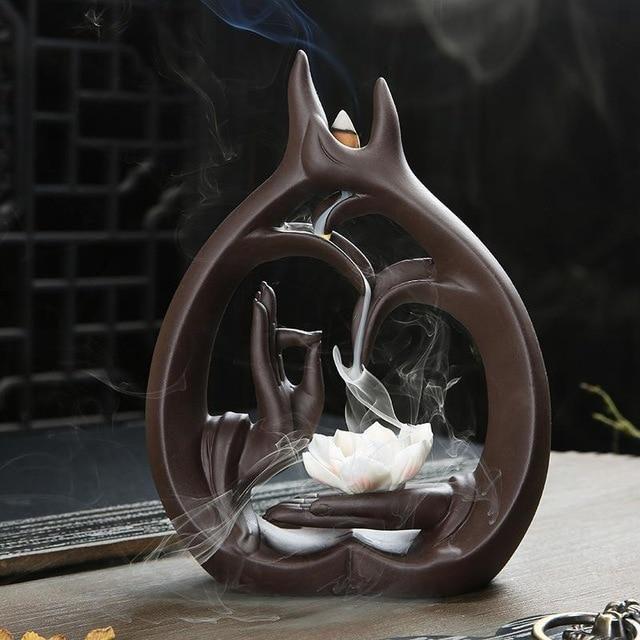 Yoga Hands Unique Ceramic Backflow Incense Burner Lotus Handmade Waterfall Incense Burner Holder Cone Incense Burner