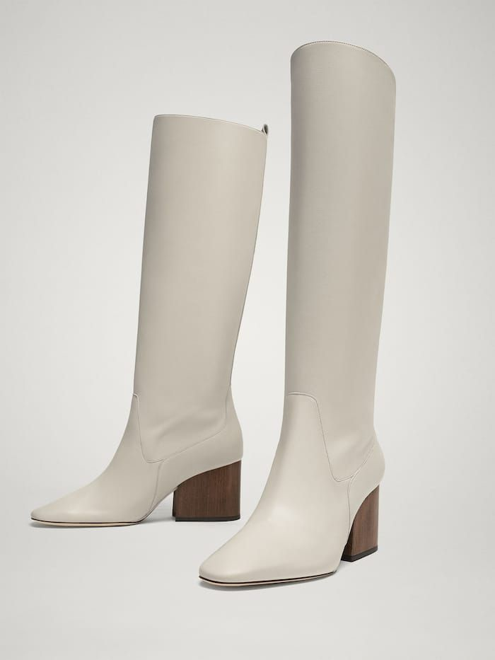 8d5cb2bd6b7 LIMITED EDITION WHITE LEATHER BOOTS - Women - Massimo Dutti ...