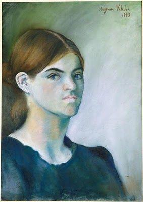 Suzanne Valadon (1865-1938) : Autoportrait. Pastel (1889 - Centre Pompidou)   Nous avons choisi cet autoportrait car ça représente une femme assez jeune qui a l'air sérieuse.(Mohamed,Morgan,Fabio)