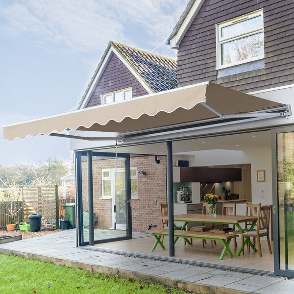 Manual 12 Ft W X 8 Ft D Metal Retractable Standard Window Awning In 2020 Shade Sail Awning Canopy Pergola Outdoor Living