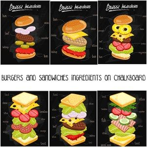 BURGERS AND SANDWICHES INGREDIENTS ON CHALKBOARD VECTOR - http://freepicvector.com/burgers-and-sandwiches-ingredients-on-chalkboard-vector/
