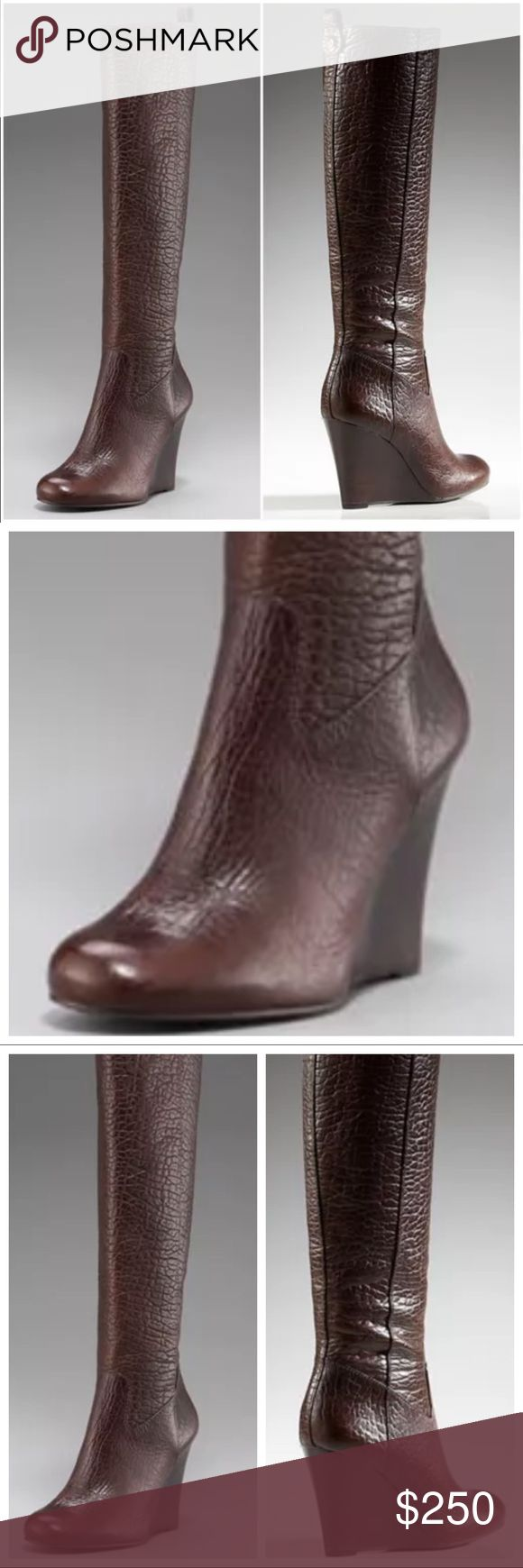 TORY BURCH Women's Pebbled Leather Wedge TORY BURCH Women's Pebbled Leather Wedge Boots Tall Brown Size 5 Tory Burch Shoes Heeled Boots