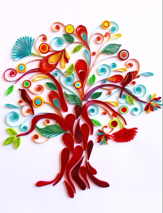 Tree of life unique paper quilled wall art for home for Quilling home decor