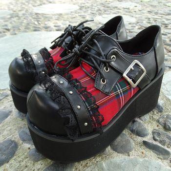 Большой размер 34 ~ 40 лолита Harajuku шотландский красный плед кружева заклепки панк платформа большой tos обувь высокое качество