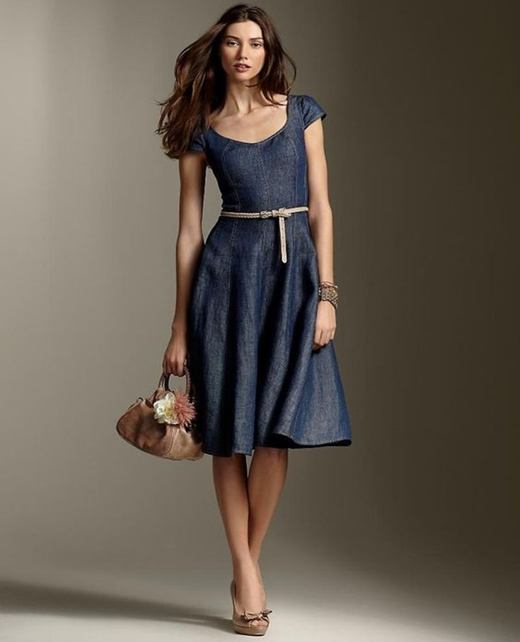 12 Denim Dresses For The Smart Casual Look #Fashion  http://seasonoutfit.com/2018/03/08/12-denim-dresses-smart-casual-look/