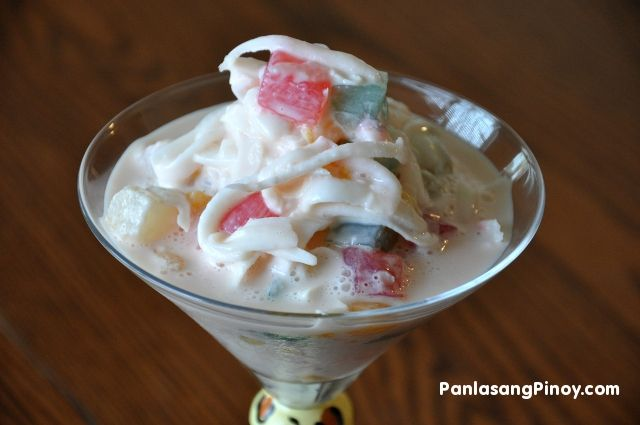 Buko salad / Sweet young coconut salad is a rich dessert that makes use of shredded young coconut as the main ingredients together with some choices of fruits, condensed milk and nestle creme.