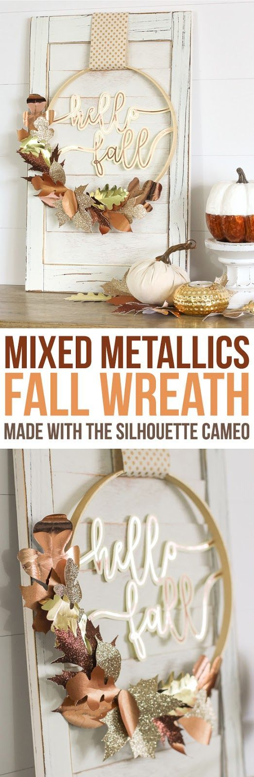 Create a beautiful mixed metallic fall wreath from scrapbook paper and rose gold vinyl cut with a Silhouette Cameo machine. #fallcrafts